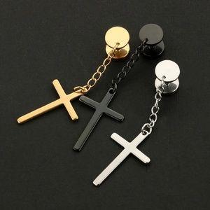 Punk Stainless Steel Cross Drop Dangle Earrings